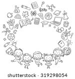 happy schoolkids with a lot of... | Shutterstock .eps vector #319298054