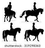 Child Riding Pony Silhouette...