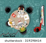 team work with flat style. a... | Shutterstock .eps vector #319298414