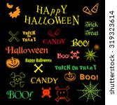 set of neon halloween icons and ... | Shutterstock .eps vector #319323614