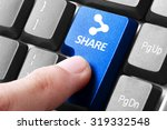 Small photo of Sharing file. gesture of finger pressing share button on a computer keyboard