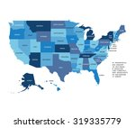 blue vector map of united... | Shutterstock .eps vector #319335779