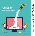 business people control rocket... | Shutterstock .eps vector #319362644