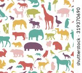 animals silhouette seamless... | Shutterstock .eps vector #319370690