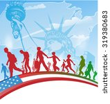 american people immigration on  ...   Shutterstock .eps vector #319380683