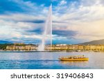Panoramic view of Geneva skyline with famous Jet d