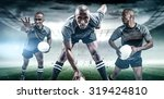 rugby player with ball running...   Shutterstock . vector #319424810