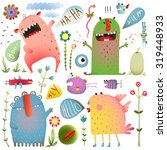 fun cute monsters for kids... | Shutterstock . vector #319448933