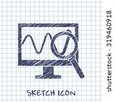 monitoring sketch icon. desktop ...
