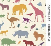 Stock vector animals silhouette seamless pattern wildlife tiled textured background african animals seamless 319461080