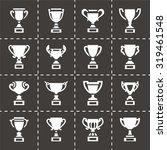 vector trophy icon set on black ... | Shutterstock .eps vector #319461548