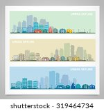 cityscape sets with various... | Shutterstock .eps vector #319464734