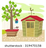 garden with shed   garden shed... | Shutterstock .eps vector #319470158