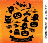 halloween card with ribbon.... | Shutterstock .eps vector #319480544