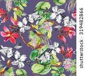 garden flowers and pheasant... | Shutterstock . vector #319482866