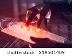 businessman pressing modern...   Shutterstock . vector #319501409