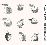 fruit and vegetable drawings... | Shutterstock .eps vector #319507943