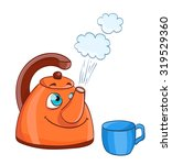 cartoon kettle with boiling... | Shutterstock .eps vector #319529360