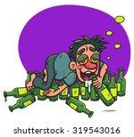 cartoon drunk guy lying  on... | Shutterstock .eps vector #319543016