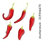set of chili doodle isolated on ... | Shutterstock .eps vector #319546670