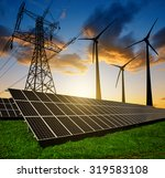 solar panels with wind turbines ... | Shutterstock . vector #319583108