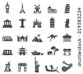 Travel Landmarks Black Icon Set