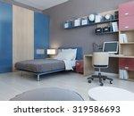 view of teenagers bedroom in... | Shutterstock . vector #319586693