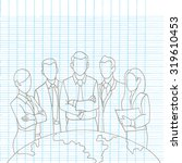 hand drawing successful team... | Shutterstock .eps vector #319610453