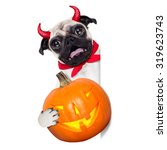 halloween devil pug dog  hiding ... | Shutterstock . vector #319623743