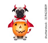 halloween devil pug dog with... | Shutterstock . vector #319623809