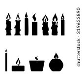 set of candles isolated on... | Shutterstock .eps vector #319623890