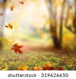 falling autumn leaves background | Shutterstock . vector #319626650