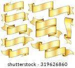big set of gold ribbon on white ... | Shutterstock .eps vector #319626860
