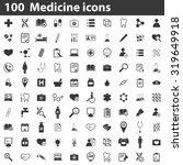 100 medicine icons | Shutterstock .eps vector #319649918