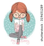girl reading a book | Shutterstock .eps vector #319651289