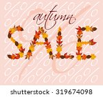 Autumn Sale With Autumn Leaves