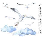 watercolor. seagull in the blue ... | Shutterstock . vector #319686278