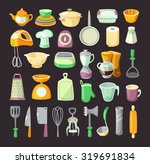 set of colorful kitchen...