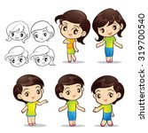 cute girls character actions... | Shutterstock .eps vector #319700540