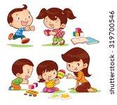 toys educate for children by mom | Shutterstock .eps vector #319700546