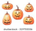 halloween holiday pumpkins clip ... | Shutterstock . vector #319703336