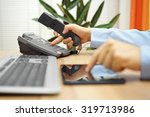 businessman working on tablet... | Shutterstock . vector #319713986