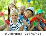 happy active children with... | Shutterstock . vector #319767416