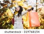 Blissful Woman Holding Shoppin...