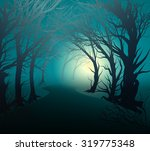 scary forest with light  park... | Shutterstock .eps vector #319775348