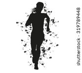 Abstract Grungy Running Woman...