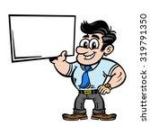 cartoon businessman holding an... | Shutterstock .eps vector #319791350
