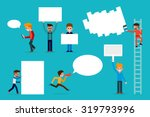 people with sign boards | Shutterstock .eps vector #319793996