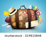 full suitcase of a traveler... | Shutterstock . vector #319815848