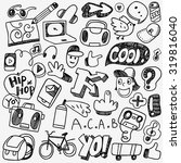 music rap graffiti doodles | Shutterstock .eps vector #319816040